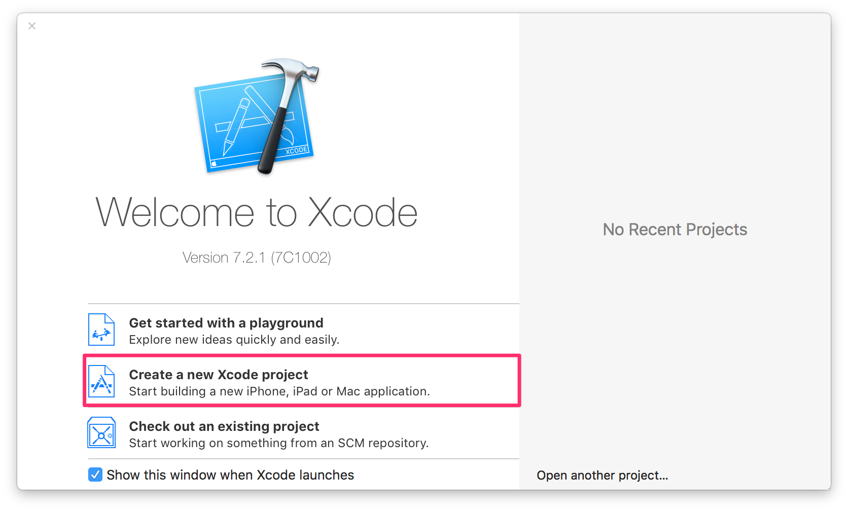 Welcome window in Xcode